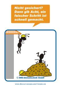 Arbeitsschutz-Comics mit Ameisen_HNC-Datentechnik_2009_11_Motiv Baustelle