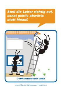 Arbeitsschutz-Comics mit Ameisen_HNC-Datentechnik_2009_11_Motiv Leiter
