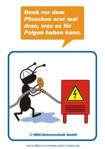 Arbeitsschutz-Comics mit Ameisen_HNC-Datentechnik_2009_11_Motiv Stromverteiler