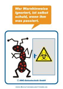 Arbeitsschutz-Comics mit Ameisen_HNC-Datentechnik_2009_11_Motiv Warnhinweise