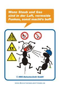 Arbeitsschutz-Comics mit Ameisen_HNC-Datentechnik_2010_02_Motiv Explosionsgefahr