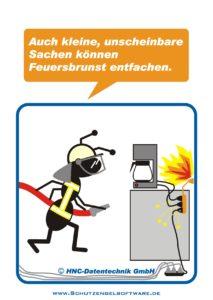 Arbeitsschutz-Comics mit Ameisen_HNC-Datentechnik_2010_02_Motiv Feuersbrunst