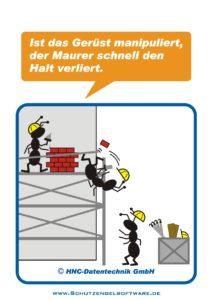 Arbeitsschutz-Comics mit Ameisen_HNC-Datentechnik_2010_04_Motiv Gerüst