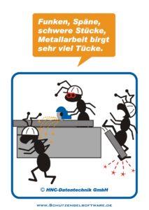 Arbeitsschutz-Comics mit Ameisen_HNC-Datentechnik_2010_06_Motiv Metallarbeit