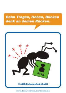 Arbeitsschutz-Comics mit Ameisen_HNC-Datentechnik_2010_12_Motiv Heben