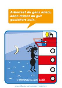 Arbeitsschutz-Comics mit Ameisen_HNC-Datentechnik_2011_03_Motiv Alleinarbeit