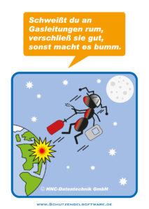 Arbeitsschutz-Comics mit Ameisen_HNC-Datentechnik_2011_03_Motiv Gasleitungen
