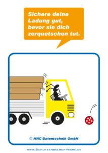 Arbeitsschutz-Comics mit Ameisen_HNC-Datentechnik_2011_03_Motiv Ladungssicherung