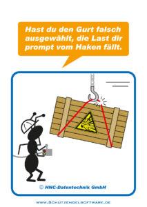 Arbeitsschutz-Comics mit Ameisen_HNC-Datentechnik_2011_03_Motiv Lastaufnahmemittel