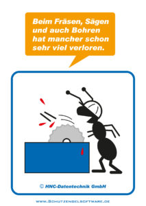 Arbeitsschutz-Comics mit Ameisen_HNC-Datentechnik_2011_03_Motiv Säge