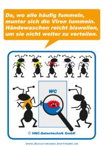 Arbeitsschutz-Comics mit Ameisen_HNC-Datentechnik_2011_03_Motiv Viren