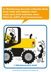 Arbeitsschutz-Comics mit Ameisen_HNC-Datentechnik_2012_02_Motiv Baufahrzeuge