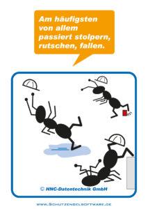 Arbeitsschutz-Comics mit Ameisen_HNC-Datentechnik_2012_02_Motiv Stolpern