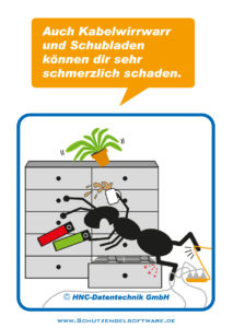 Arbeitsschutz-Comics mit Ameisen_HNC-Datentechnik_2012_03_Motiv Büroschubladen