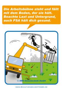 Arbeitsschutz-Comics mit Ameisen_HNC-Datentechnik_2012_03_Motiv Hubarbeitsbuehne