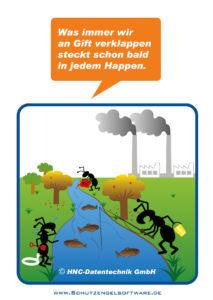 Arbeitsschutz-Comics mit Ameisen_HNC-Datentechnik_Motiv Umweltschutz