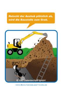Arbeitsschutz-Comics mit Ameisen_HNC-Datentechnik_2014_07_Motiv Baustellenaushub