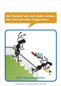 Arbeitsschutz-Comics mit Ameisen_HNC-Datentechnik_2015_07_Motiv Treppe