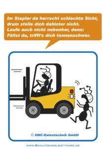 Arbeitsschutz-Comics mit Ameisen_HNC-Datentechnik_Motiv Sicht im Stapler