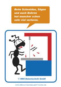 Arbeitsschutz-Comics mit Ameisen_HNC-Datentechnik_Motiv Vertikalschneidemaschine