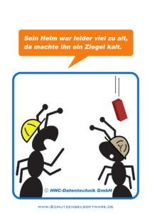 Arbeitsschutz-Comics mit Ameisen_HNC-Datentechnik_2017_02_Motiv Alter Helm