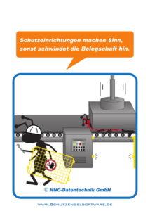Arbeitsschutz-Comics mit Ameisen_HNC-Datentechnik_2017_02_Motiv Schutzeinrichtungen
