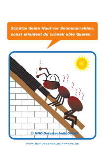 Arbeitsschutz-Comics mit Ameisen_HNC-Datentechnik_2017_02_Motiv Sonnenbrand