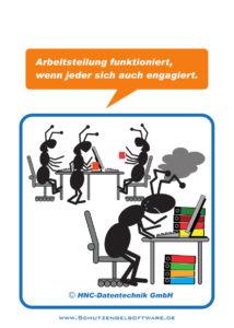 Arbeitsschutz-Comics mit Ameisen_HNC-Datentechnik_2017_03_Motiv Arbeitsteilung Büro