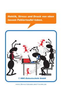 Arbeitsschutz-Comics mit Ameisen_HNC-Datentechnik_2017_05_Motiv Fehlerteufel