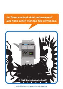 Arbeitsschutz-Comics mit Ameisen_HNC-Datentechnik_2017_05_Motiv Tonerwechsel