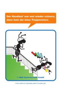 Arbeitsschutz-Comics mit Ameisen_HNC-Datentechnik_2017_06_Motiv Treppe