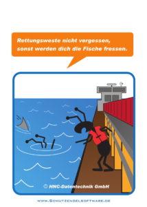 Arbeitsschutz-Comics mit Ameisen_HNC-Datentechnik_2017_08_Motiv Rettungsweste