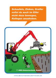 Arbeitsschutz-Comics mit Ameisen_HNC-Datentechnik_2017_10_Motiv Schaufeln, Zinken, Greifer