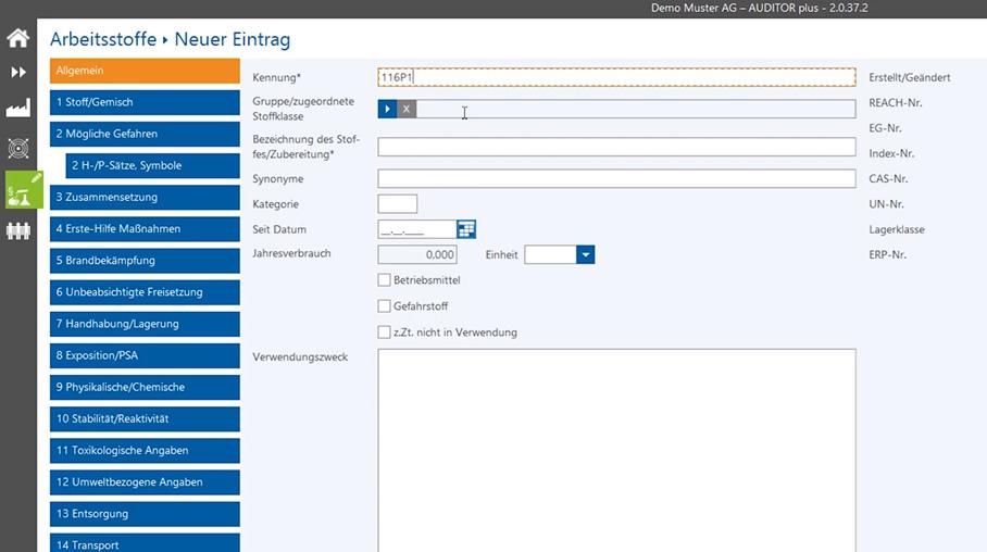 Arbeitsstoffe in AUDITOR plus - Arbeitsschutz-Software (optionales Modul)