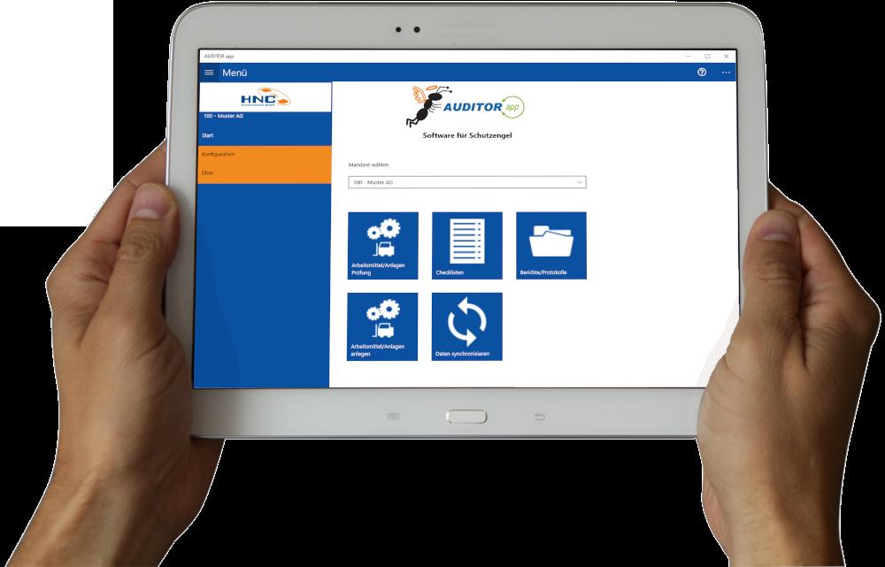 Arbeitsschutz AUDITOR app Menüansicht