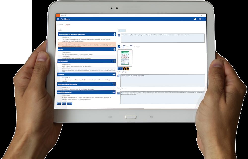 Arbeitsschutz AUDITOR app Checkliste