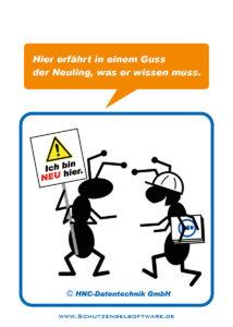 Arbeitsschutz-Comics mit Ameisen_HNC-Datentechnik Motiv Erstunterweisung