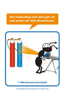 Arbeitsschutz-Comics mit Ameisen_HNC-Datentechnik Motiv Funkenflug