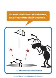 Arbeitsschutz-Comics mit Ameisen_HNC-Datentechnik Motiv Gruben