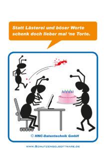 Arbeitsschutz-Comics mit Ameisen_HNC-Datentechnik Motiv Lästern