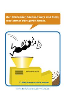 Arbeitsschutz-Comics mit Ameisen_HNC-Datentechnik Motiv Schredder