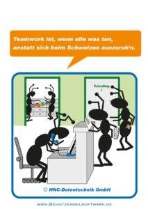 Arbeitsschutz-Comics mit Ameisen_HNC-Datentechnik Motiv Arztpraxis