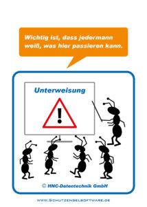 Arbeitsschutz-Comics mit Ameisen_HNC-Datentechnik Motiv Unterweisung allgemein