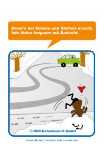 Arbeitsschutz-Comics mit Ameisen_HNC-Datentechnik Motiv Glatteisunfälle