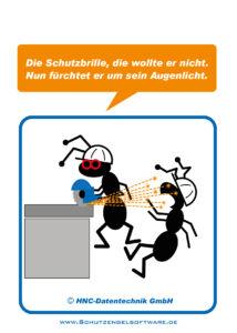 Arbeitsschutz-Comics mit Ameisen_HNC-Datentechnik Motiv Schutzbrille