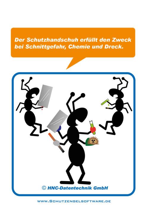 Ameisen Arbeitsschutz-Comic Motiv: Schutzhandschuhe