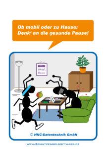 Arbeitsschutz-Comics mit Ameisen_HNC-Datentechnik Motiv Homeoffice