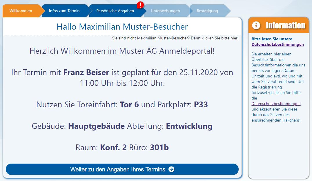 AUDITOR online Besucherportal (V2.0.44.14) - 4 - Willkommenstext