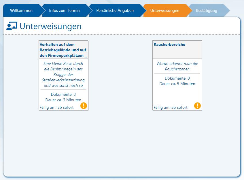 AUDITOR online Besucherportal (V2.0.44.14) - 6 - Ansicht Unterweisungen (alle offen)