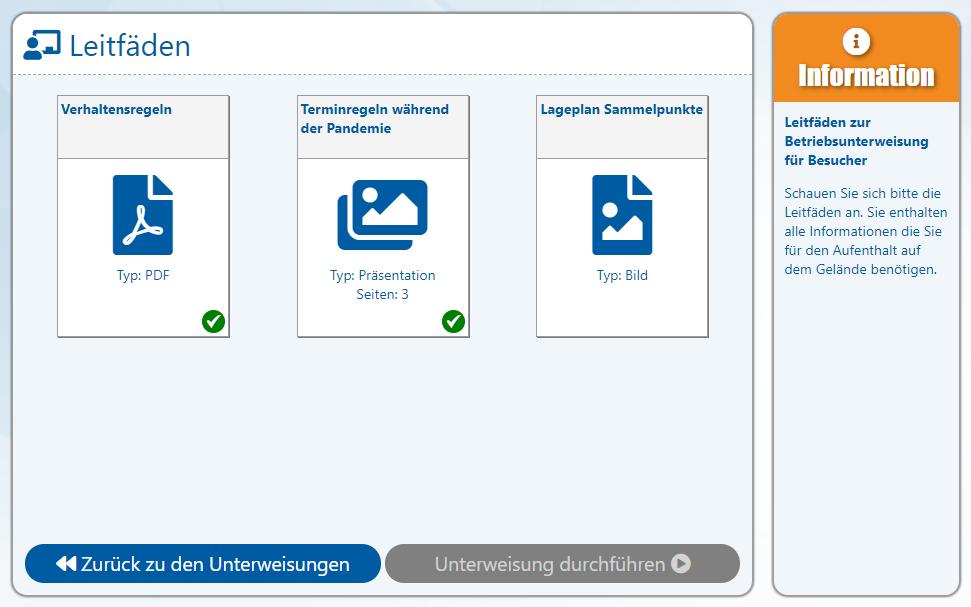 AUDITOR online Besucherportal (V2.0.44.14) - 9 - Ansicht Leitfäden (teilweise ungelesen)